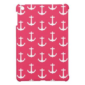 Nautical White Anchors against Fuchsia Pink iPad Mini Covers