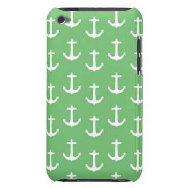 Beach Themed Nautical White Anchors against Lime Green Barely There iPod Case
