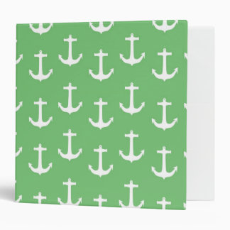 Nautical White Anchors against Lime Green Binder