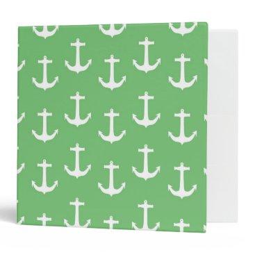 Beach Themed Nautical White Anchors against Lime Green Binder