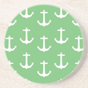 Beach Themed Nautical White Anchors against Lime Green Drink Coaster