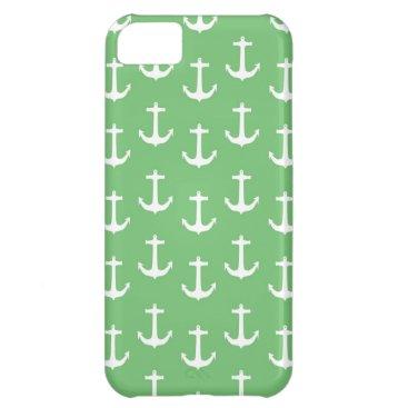 Beach Themed Nautical White Anchors against Lime Green iPhone 5C Case