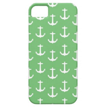 Beach Themed Nautical White Anchors against Lime Green iPhone SE/5/5s Case