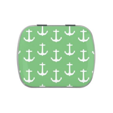 Beach Themed Nautical White Anchors against Lime Green Jelly Belly Tins