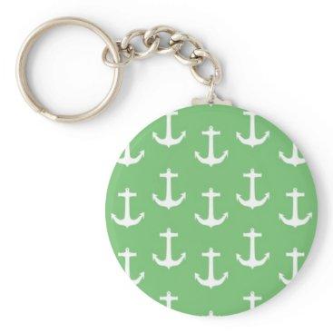 Beach Themed Nautical White Anchors against Lime Green Keychain