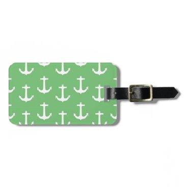 Beach Themed Nautical White Anchors against Lime Green Luggage Tag