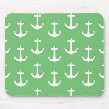 Beach Themed Nautical White Anchors against Lime Green Mouse Pad