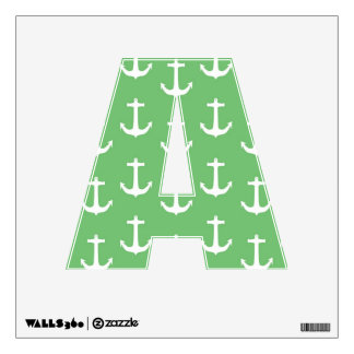 Nautical White Anchors against Lime Green Wall Decal