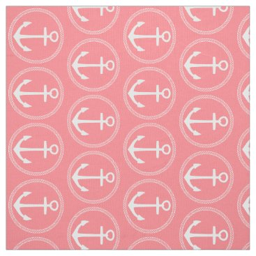 Beach Themed Nautical White Anchors and Rope on Coral Pink Fabric