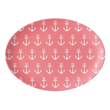 Beach Themed Nautical White Anchors on Tropical Coral Pink Porcelain Serving Platter
