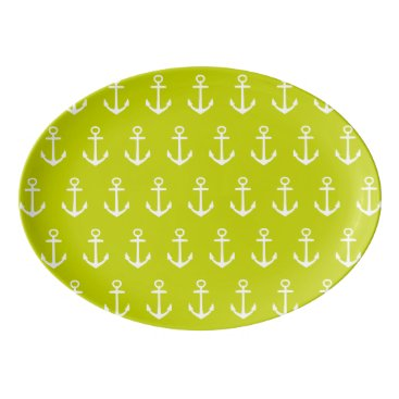 Beach Themed Nautical White Anchors on Tropical Lime Green Porcelain Serving Platter