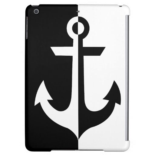 Nautical White and Black Anchor {pick your color} Case For iPad Air