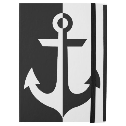 "Nautical White and Black Anchor {pick your color} iPad Pro 12.9"" Case"