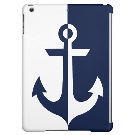 Nautical White and Blue Anchor {pick your color} Case For iPad Air