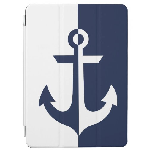 Nautical White and Blue Anchor {pick your color} iPad Air Cover