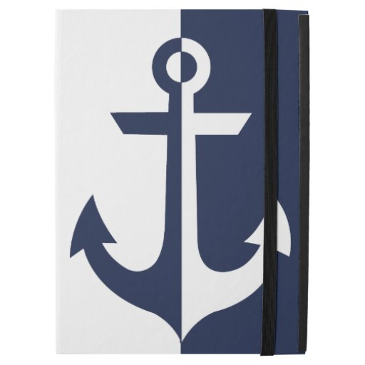 "Nautical White and Blue Anchor {pick your color} iPad Pro 12.9"" Case"