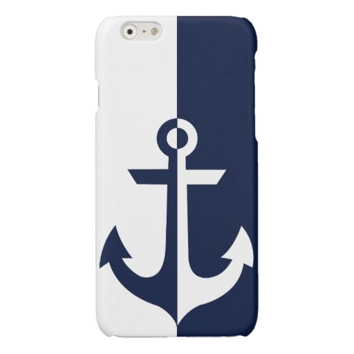 Nautical White and Blue Anchor {pick your color} Glossy iPhone 6 Case