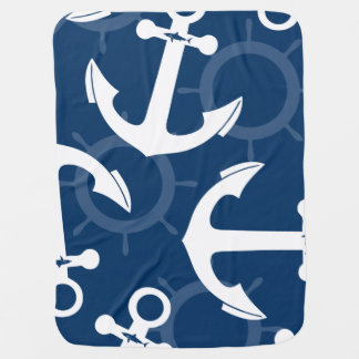 Nautical White and Blue Anchors Pattern Stroller Blanket