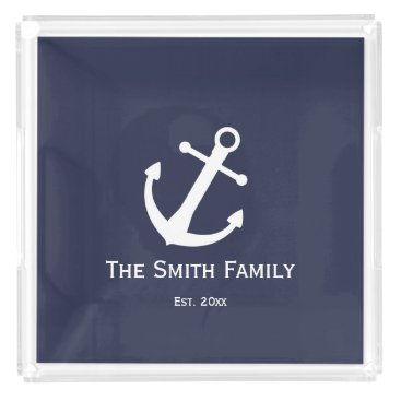 Beach Themed Nautical White and Blue Serving Tray