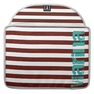 nautical white and wooden stripes with grunge name sleeve for MacBooks