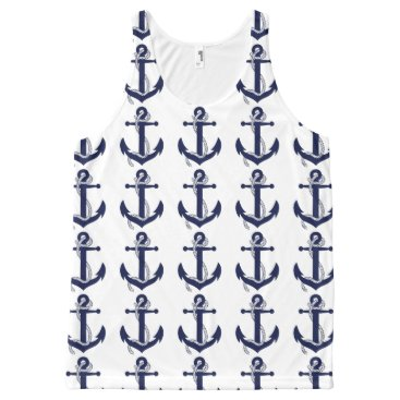 Beach Themed Nautical White & Blue Anchor All-Over-Print Tank Top