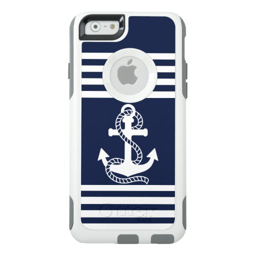 Nautical White Blue Anchor OtterBox iPhone 6 Case