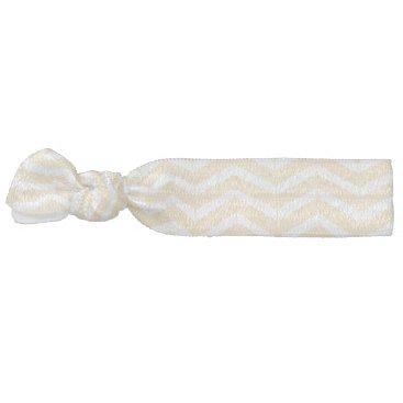 Beach Themed Nautical White Cream Chevron Illustration Ribbon Hair Tie