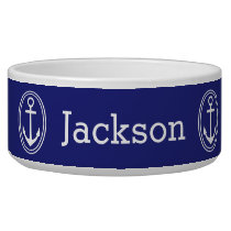 Nautical White Framed Anchors Personalized on Blue Bowl