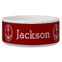 Nautical White Framed Anchors Personalized on Red Bowl