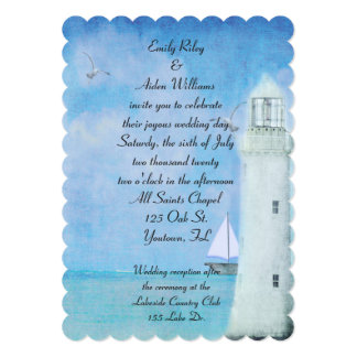 Nautical White Lighthouse wedding Card