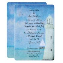 Nautical White Lighthouse wedding Invitation