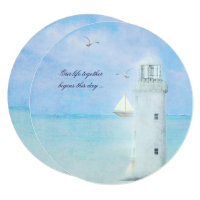 Nautical White Lighthouse Wedding Invitation