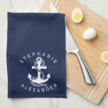 "Nautical White Navy Blue Anchor {pick your color} Kitchen Towel<br><div class=""desc"">Stylish decorative kitchen towel features nautical white and navy blue anchors vector illustration and name on a navy blue background you can easily change the color. Just click on &quot;Customize It&quot; &gt; Color &gt; Background,  and select your favorite background. Matching items available in our store. www.zazzle.com/giftsforanyoccasions*</div>"