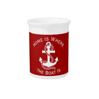 Nautical White Red Anchor {pick your color} Beverage Pitchers