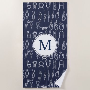Beach Themed Nautical White Rope Knots & Navy Blue with Initial Beach Towel