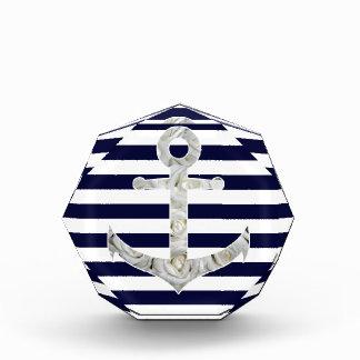 Nautical white rose anchor acrylic award