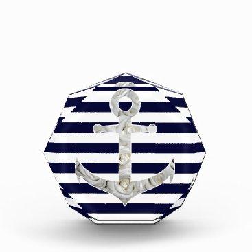 Beach Themed Nautical white rose anchor acrylic award