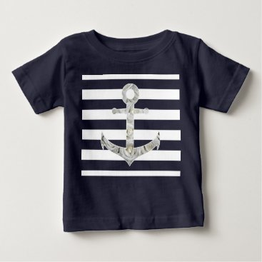 Beach Themed Nautical white rose anchor baby T-Shirt