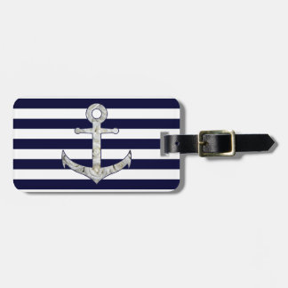 Nautical white rose anchor bag tag