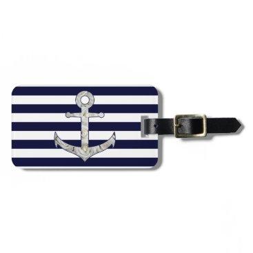 Beach Themed Nautical white rose anchor bag tag