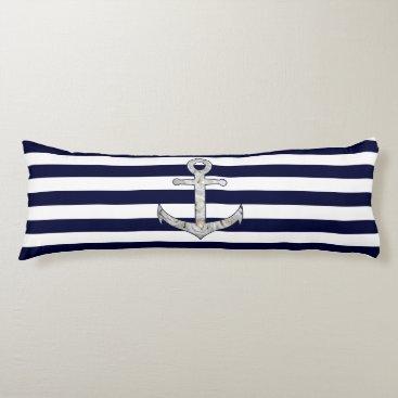 Beach Themed Nautical white rose anchor body pillow