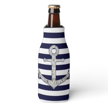 Beach Themed Nautical white rose anchor bottle cooler