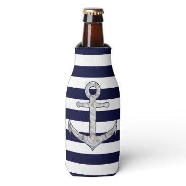 Nautical white rose anchor bottle cooler