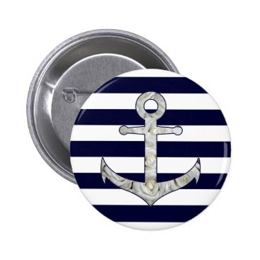 Beach Themed Nautical white rose anchor button
