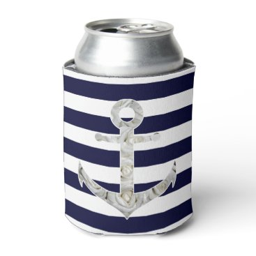 Nautical white rose anchor can cooler