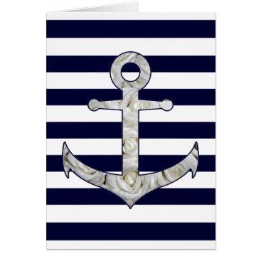 Beach Themed Nautical white rose anchor card