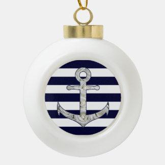 Nautical white rose anchor ceramic ball christmas ornament