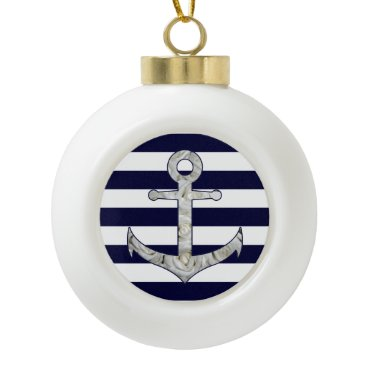 Nautical white rose anchor ceramic ball christmas ornament