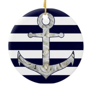 Beach Themed Nautical white rose anchor ceramic ornament