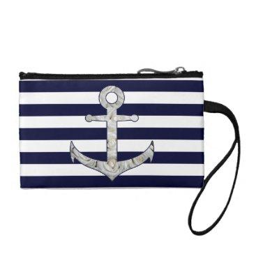 Beach Themed Nautical white rose anchor coin purse
